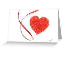 Sugar Sprinkles Heart and Red Ribbon Greeting Card