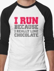 I run because i really like chocolate gym workout exercise wod Men's Baseball ¾ T-Shirt