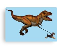T Rex and his dog Canvas Print