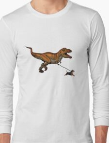T Rex and his dog Long Sleeve T-Shirt