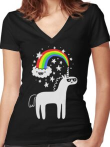Cool Unicorn Women's Fitted V-Neck T-Shirt