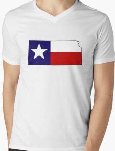 Texas flag Kansas outline Mens V-Neck T-Shirt