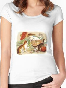 Kittens Playing Women's Fitted Scoop T-Shirt