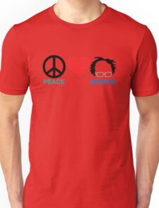 Peace,Love,Bernie Unisex T-Shirt