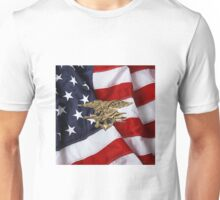 U.S. Navy SEALs Trident over American Flag  Unisex T-Shirt