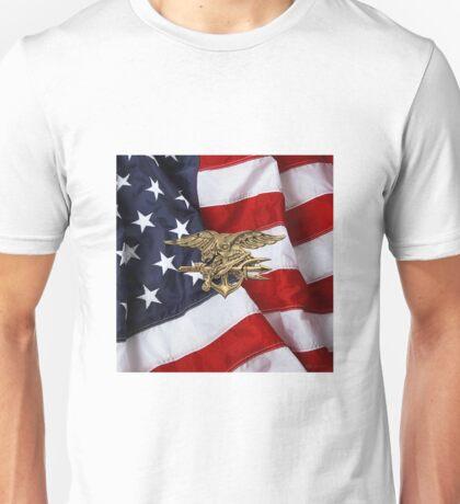 U.S. Navy SEALs Trident over American Flag  Unisex T-Shirt