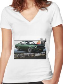 Steve McQueen Bullitt 1968 Ford Mustang Women's Fitted V-Neck T-Shirt