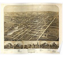 Aerial Map City of Ripon Fond du Lac County Wisconsin (1867) Poster