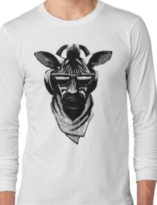 Cool Zebra Head with Headphones (Black and White) Long Sleeve T-Shirt