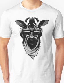 Cool Zebra Head with Headphones (Black and White) T-Shirt