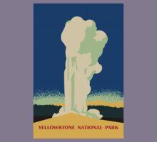 Yellowstone retro vintage cone geyser travel ad Kids Tee