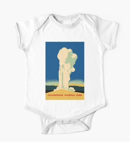Yellowstone retro vintage cone geyser travel ad One Piece - Short Sleeve