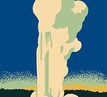 Yellowstone retro vintage cone geyser travel ad by aapshop