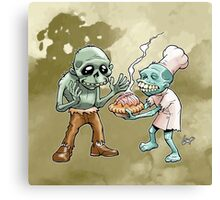 Zombies Share Pie 2 Canvas Print