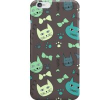 Cute, hand green, brown cats iPhone Case/Skin
