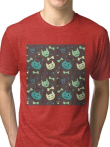 Cute, hand green, brown cats Tri-blend T-Shirt