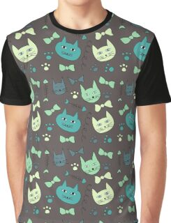 Cute, hand green, brown cats Graphic T-Shirt