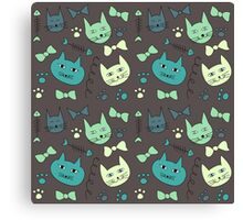 Cute, hand green, brown cats Canvas Print