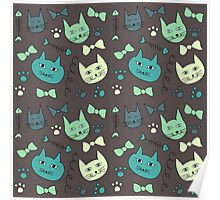 Cute, hand green, brown cats Poster