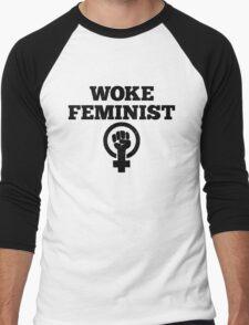 Woke Feminist Men's Baseball ¾ T-Shirt