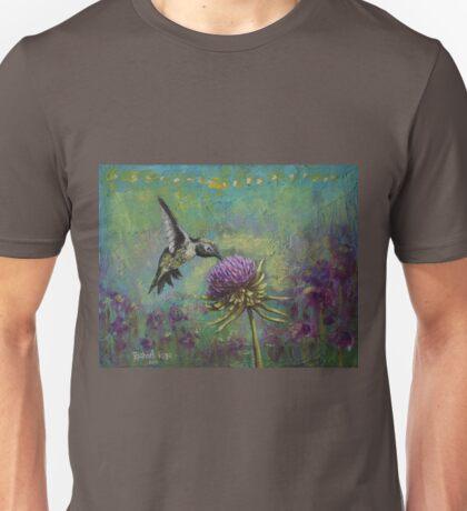 Purple Haze Hummingbird Art by Rachael Rose Unisex T-Shirt