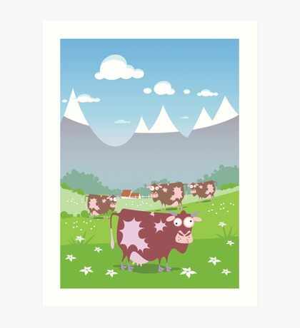 Cows on the meadow Art Print