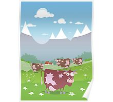 Cows on the meadow Poster