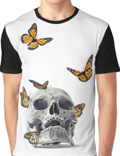 Skull with Monarch Butterflies Graphic T-Shirt