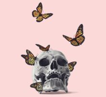 Skull with Monarch Butterflies One Piece - Short Sleeve