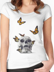 Skull with Monarch Butterflies Women's Fitted Scoop T-Shirt