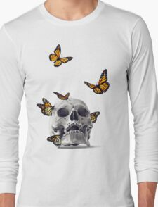 Skull with Monarch Butterflies Long Sleeve T-Shirt