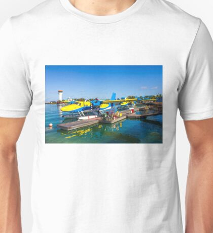 Hydroplane standing at Male airport, Maldives Unisex T-Shirt
