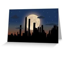 City Skyline - Night TIme Greeting Card
