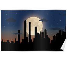 City Skyline - Night TIme Poster