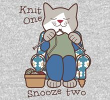 Knit One Snooze Two Knitting Kitty Baby Tee