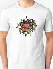 Illustrated Rose Patch  T-Shirt