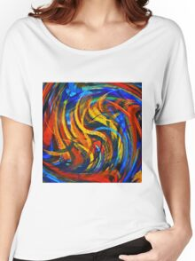Modern Colorful Swirl Abstract Art Women's Relaxed Fit T-Shirt