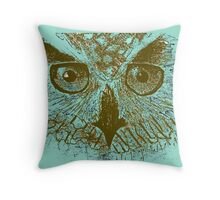 Gold - Turquoise Owl  Throw Pillow