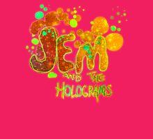 Jem & The Holograms-Glitter 'n Gold Paint Splatter Logo Womens Fitted T-Shirt