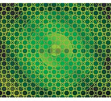 Honeycomb Inspirations - Lime Green, Emerald Green and Gold Photographic Print