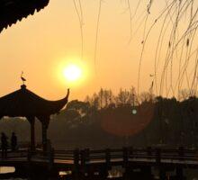 Sunset, Three Pools Mirroring the Moon, Hangzhou, China Sticker