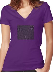 Pale Aubergine and Eggplant Abstract Pattern Kaleidoscope Women's Fitted V-Neck T-Shirt