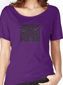 Pale Aubergine and Eggplant Abstract Pattern Kaleidoscope Women's Relaxed Fit T-Shirt
