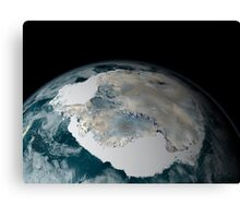 The frozen continent of Antarctica and its surrounding sea ice. Canvas Print