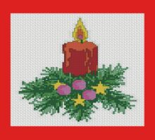 Christmas Candle Cross Stitch Kids Tee