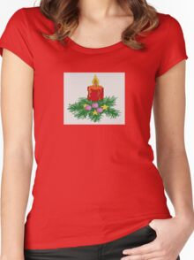 Christmas Candle Cross Stitch Women's Fitted Scoop T-Shirt