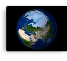 Full Earth showing the Arctic region. Canvas Print