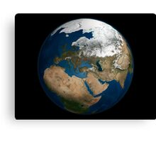 A global view over Europe and Scandinavia with Arctic sea ice. Canvas Print