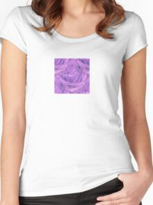 Seamless Purple Rose Vector Women's Fitted Scoop T-Shirt