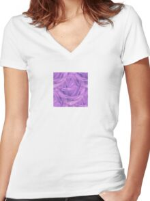 Seamless Purple Rose Vector Women's Fitted V-Neck T-Shirt